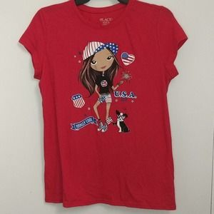 NEW THE CHILDREN'S PLACE Patriotic USA Flag Tee 16
